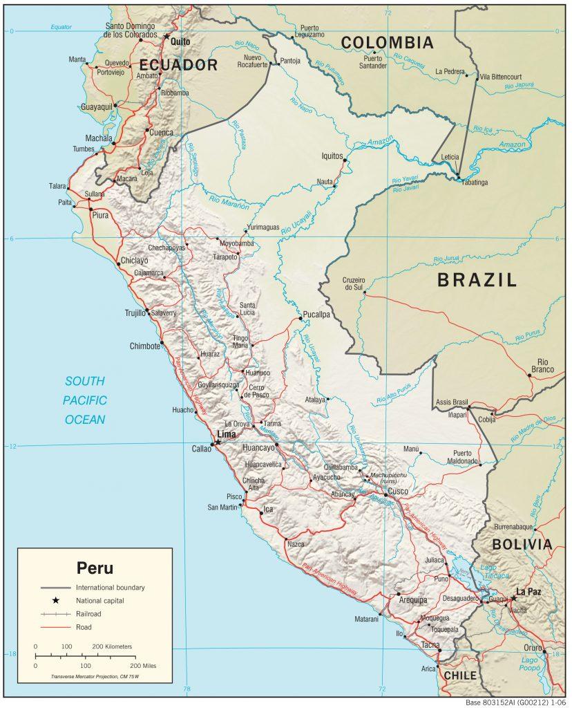 peru fiziki haritası